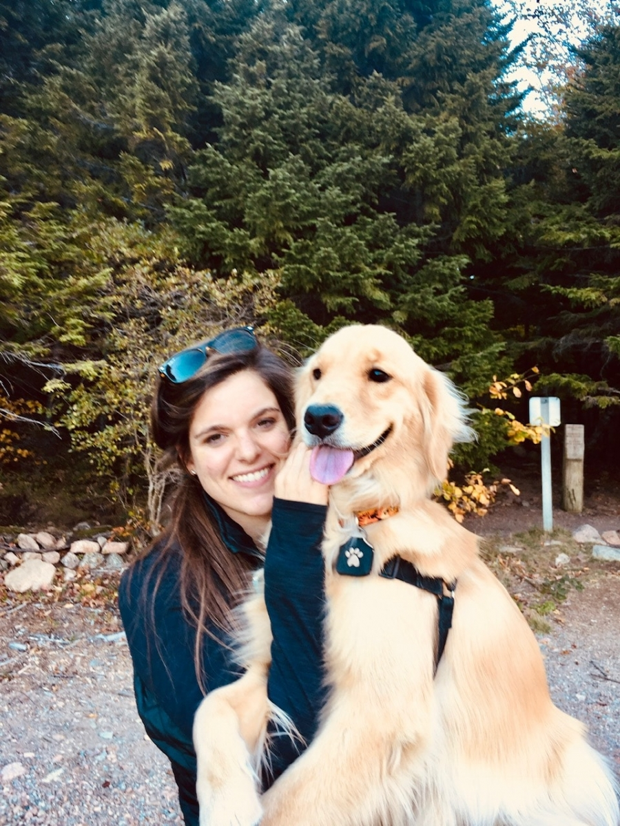 Thanks to our football players, Tilly still loves to be carried around like a baby. She wraps her paws around your arm and holds on, it's the sweetest thing. Here she is on a camping weekend in Acadia last fall