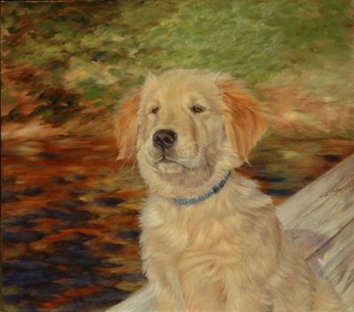 """Oakley"" Goldiva's Annie Get Your Gun is owned & painted by Karen Killian of watermarkstudio.com, Old Lyme, Connecticut. This print, entitled ""Promise"" is available as a Limited Edition print for Orvis Company's catalogue now available. Oakley's parents are Am. CH GFA's Gabe's Hope for Colette ex Tricon's Sunnybrae Blues ""Tilly""."